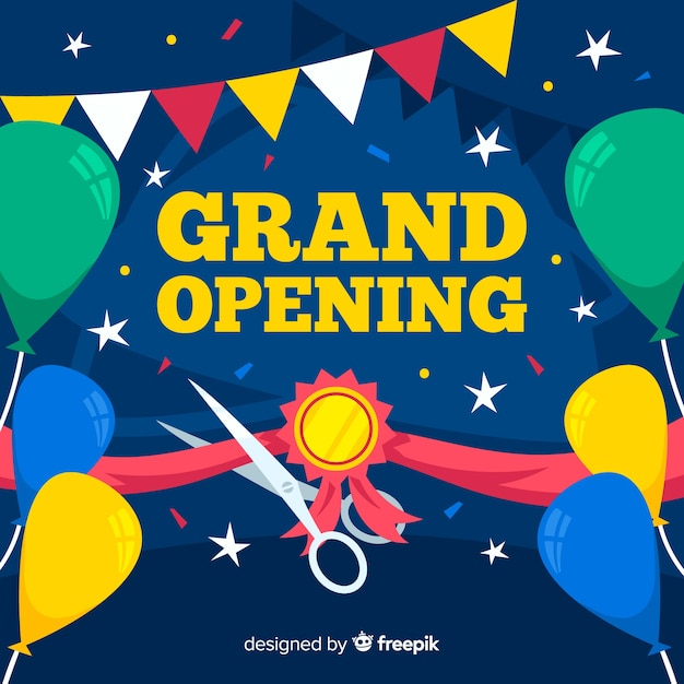 Flat grand opening concept Free Vector