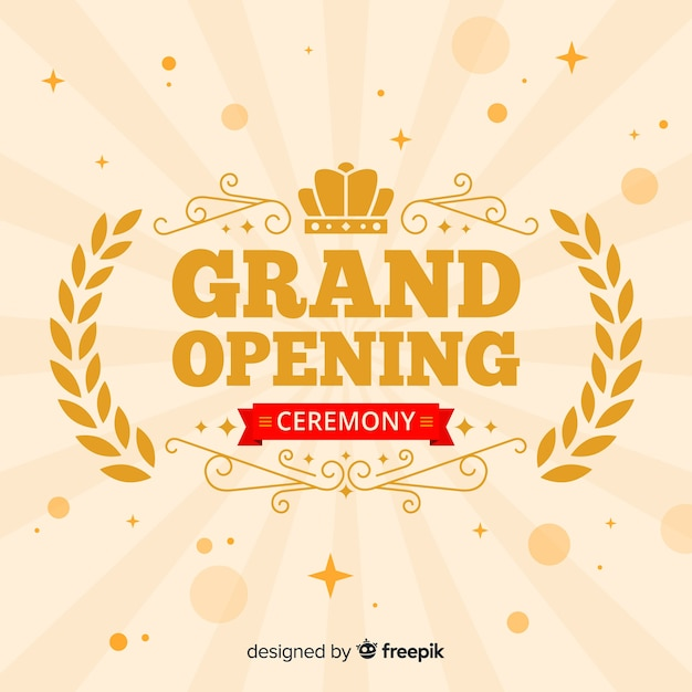 Flat grand opening decorative background Free Vector