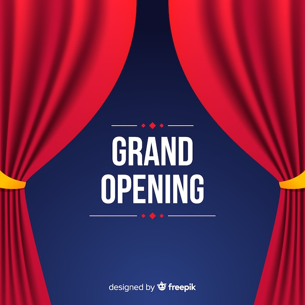 Flat grand opening poster with curtains Free Vector