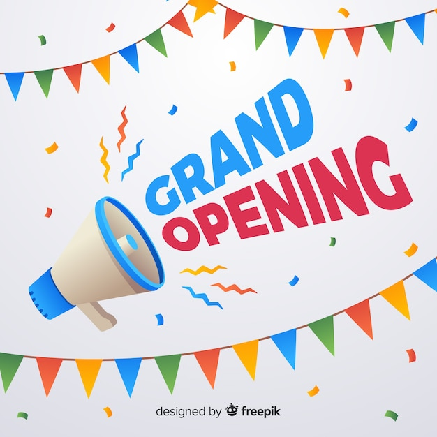 Flat grand opening poster with megaphone Free Vector