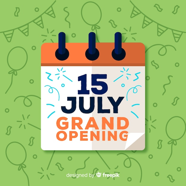 Flat grand opening with calendar Free Vector