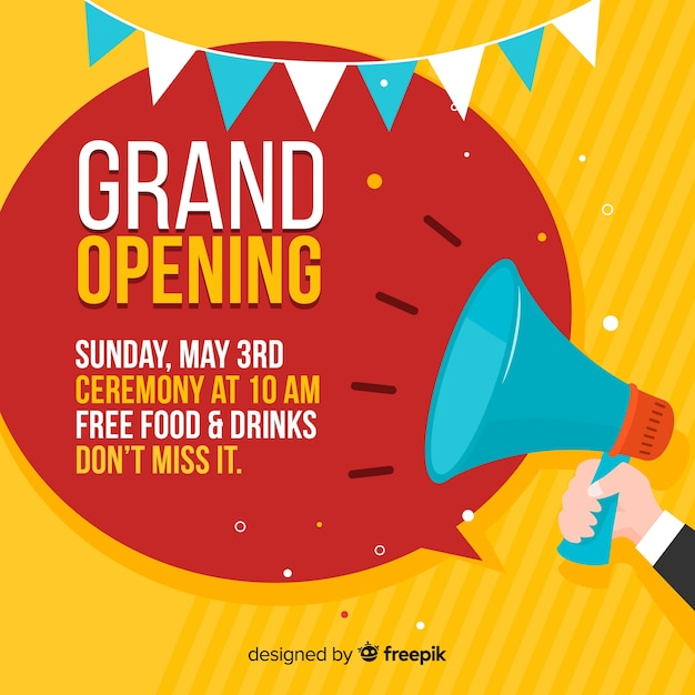 Flat grand opening with megaphone Free Vector