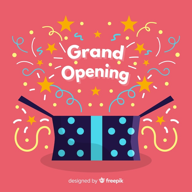 Flat grand opening with present Free Vector