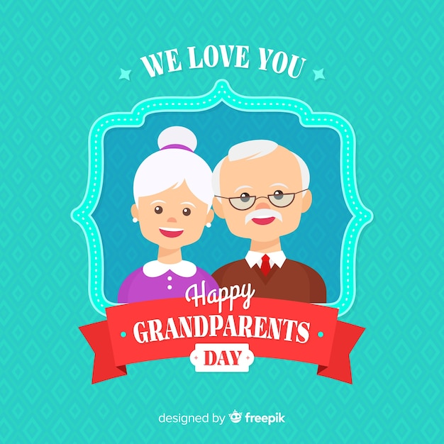 Flat grandparents day background Free Vector