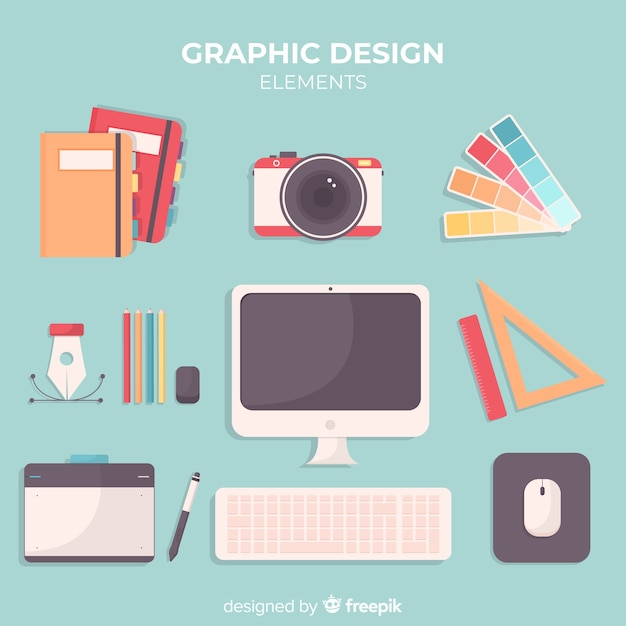 Flat graphic design tools collection Free Vector