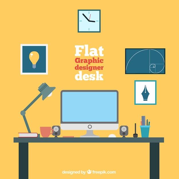 Flat Graphic Designer Desk Collection Vector Free Download
