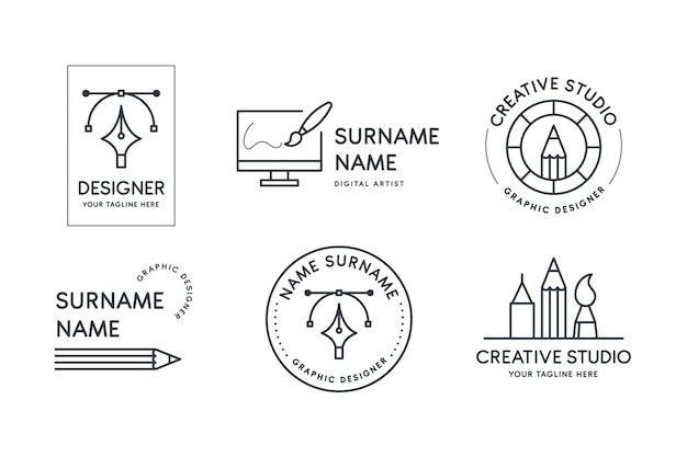 Flat graphic designer logo collection Free Vector