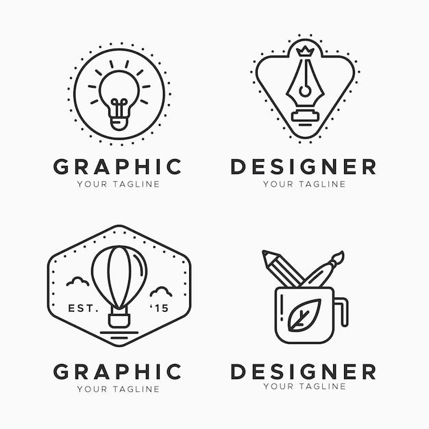평면 그래픽 디자이너 로고 컬렉션 무료 벡터