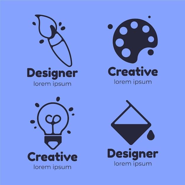 평면 그래픽 디자이너 로고 컬렉션 프리미엄 벡터