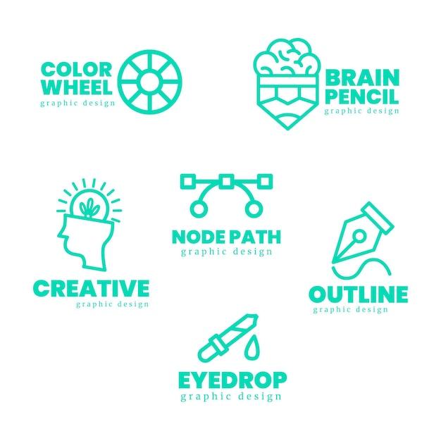 Flat graphic designer logo pack Premium Vector