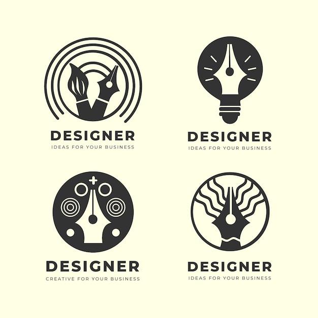 Плоский графический дизайнерский логотип Бесплатные векторы
