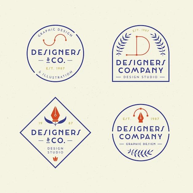 평면 그래픽 디자이너 로고 팩 무료 벡터