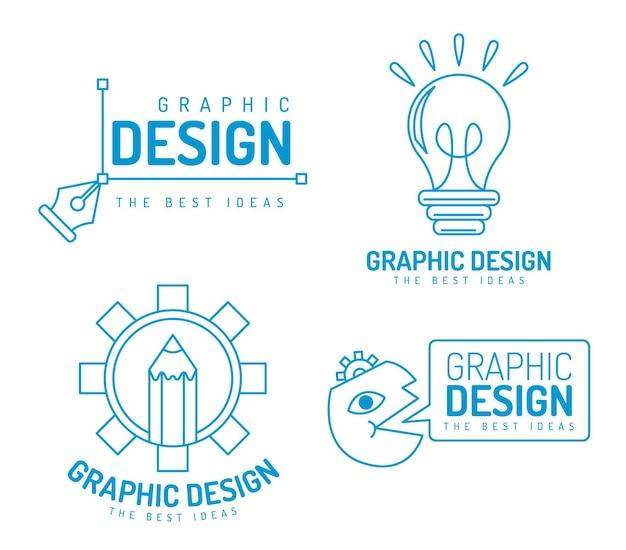 평면 그래픽 디자이너 로고 팩 프리미엄 벡터