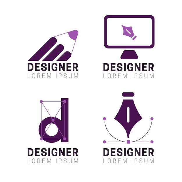 평면 그래픽 디자이너 로고 세트 프리미엄 벡터