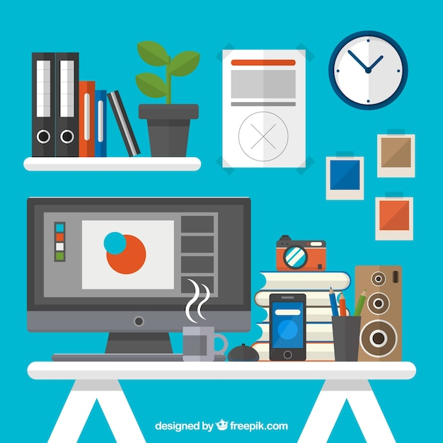 Flat Graphic Designer Workplace Vector Free Download