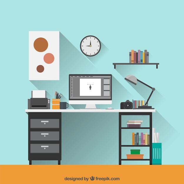 flat graphic designer workspace free vector