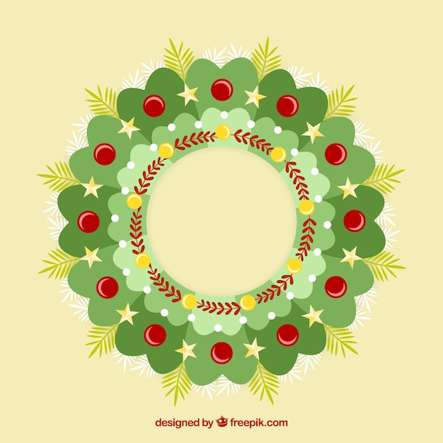 Flat green christmas wreath