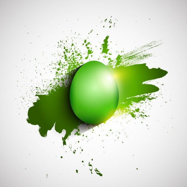 Flat Green Easter Egg Background Free Vector