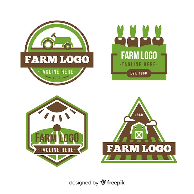 Flat green farm logo collection Free Vector
