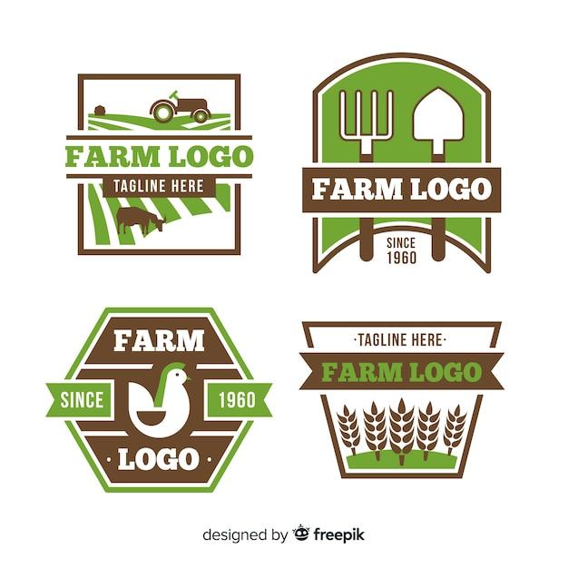 Flat green farm logo collection Free Vector