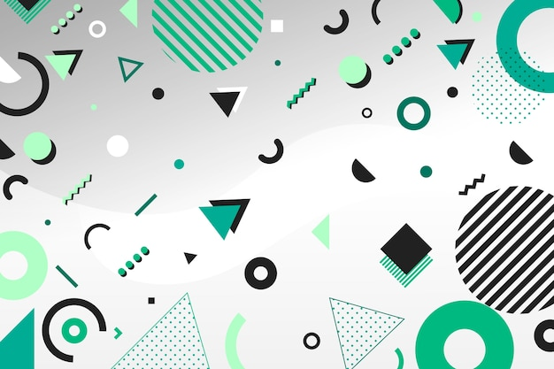 Flat green geometric models background Free Vector
