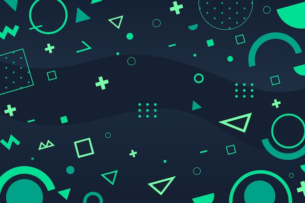 Flat green geometric shapes background Free Vector