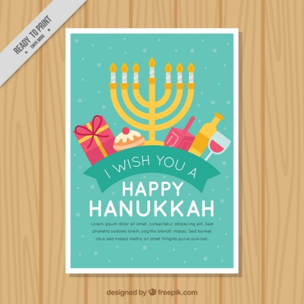 Flat greeting card ready for hanukkah Free Vector