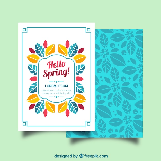 Flat greeting card with decorative leaves for spring