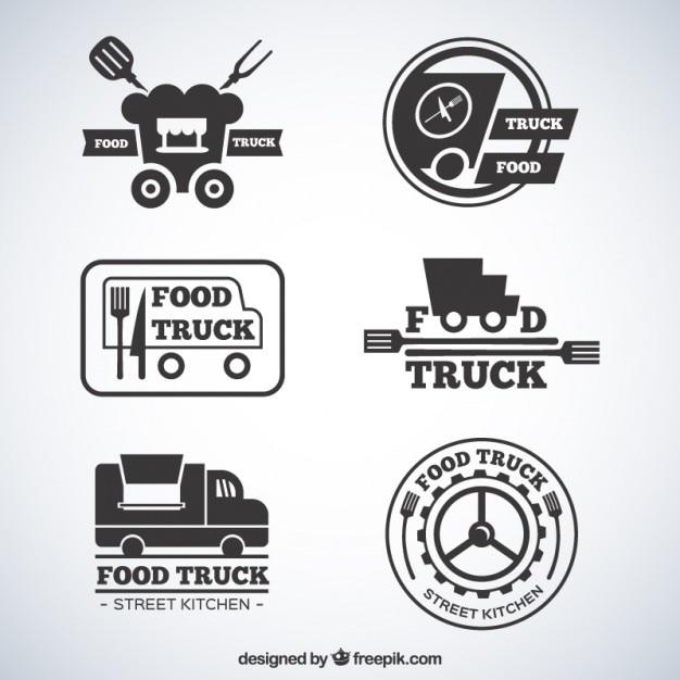 Flat grey food truck logotypes Free Vector