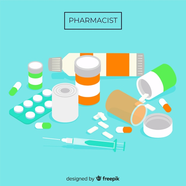 Flat group of medicines background Free Vector