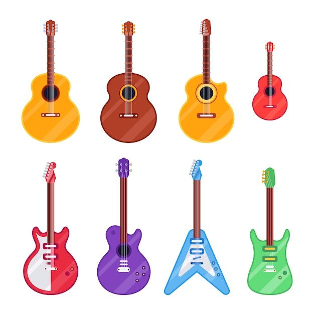Flat guitar instrument Premium Vector