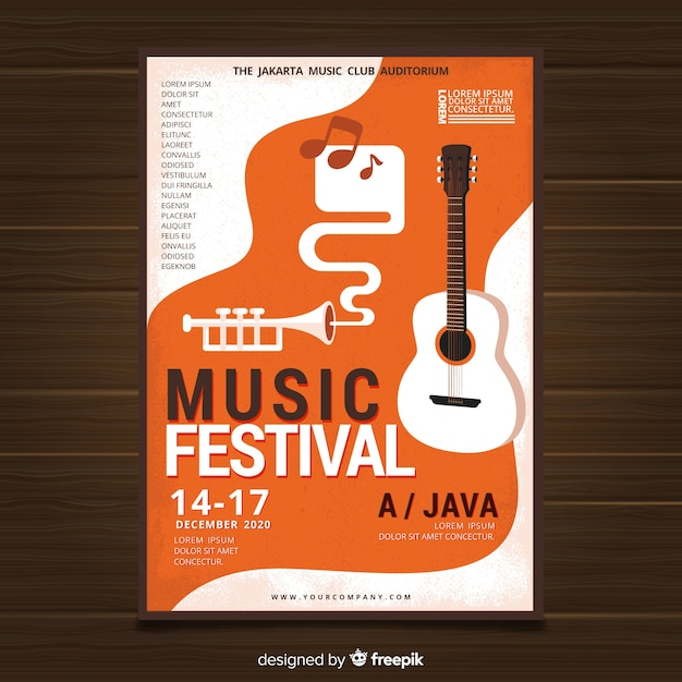 Flat guitar music festival poster Free Vector