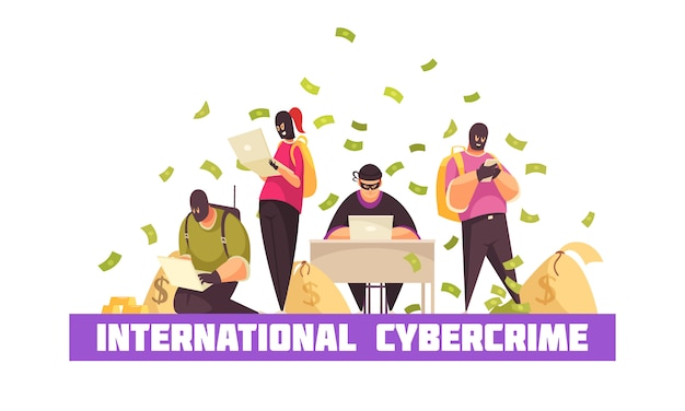 Flat hacker composition with international cybercrime headline and money bills flying around the stealers vector illustration Free Vector