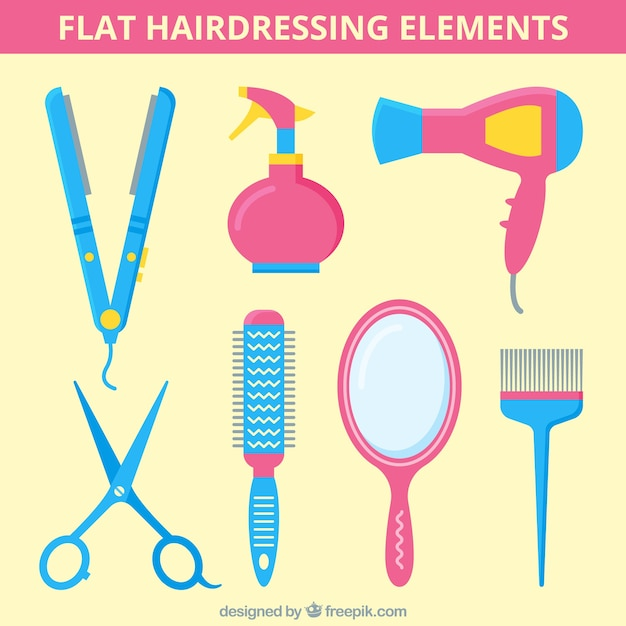 Flat hairdressing elemnts Free Vector