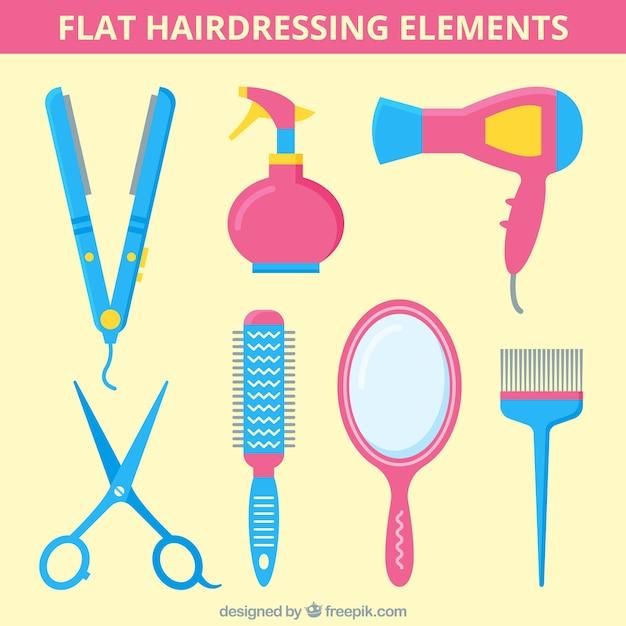 Плоские парикмахерские elemnts Premium векторы