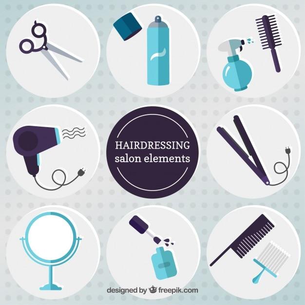 Flat hairdressing salon elements Free Vector