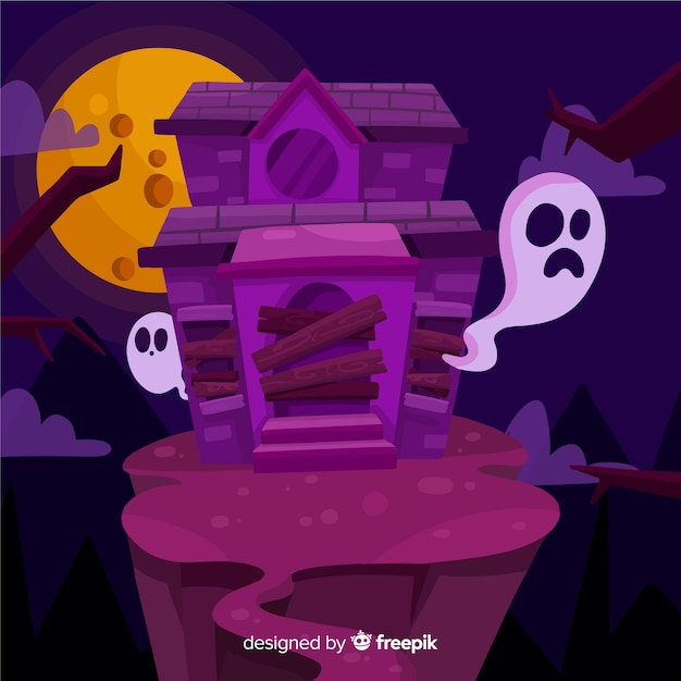 Flat halloween abandoned house Vector | Free Download