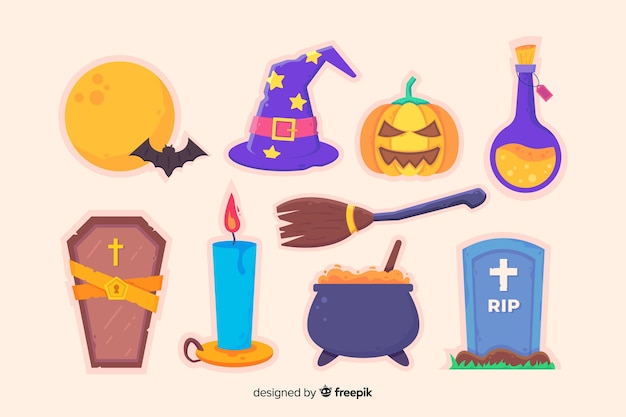 Flat halloween accessories collection Free Vector