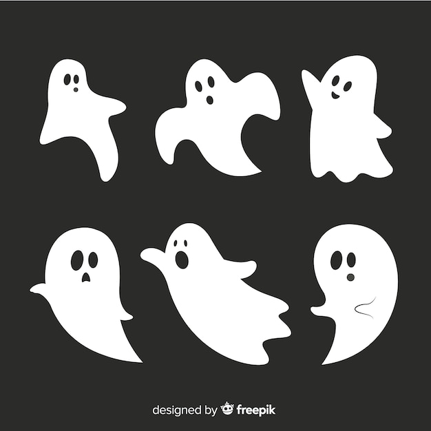 Flat halloween animated ghost collection Free Vector
