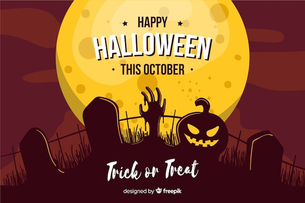 Flat halloween background cemetery on a full moon Free Vector