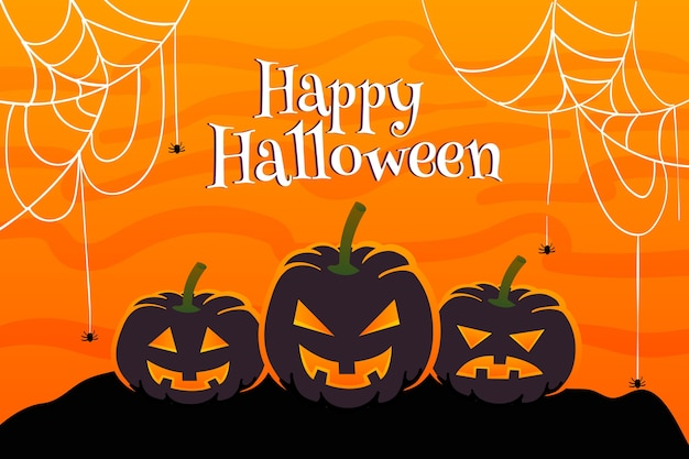 Flat halloween background cobweb and pumpkin Free Vector