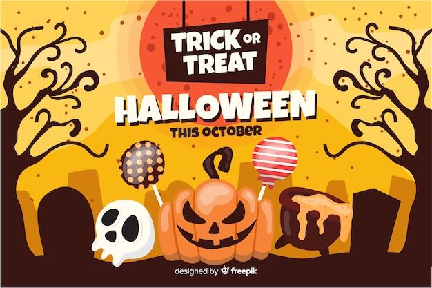 Flat halloween background pumpkin with lollipops Free Vector
