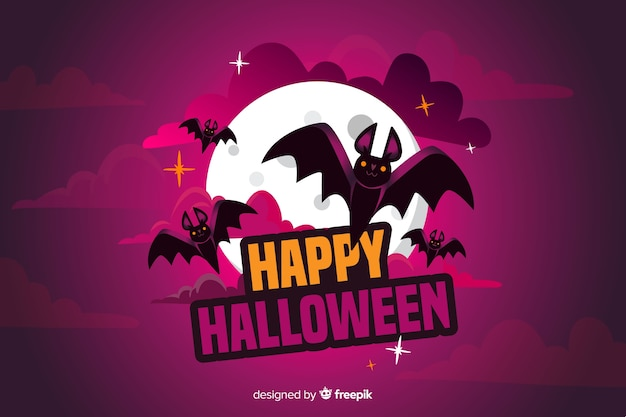 Flat halloween background with bat and full moon Free Vector