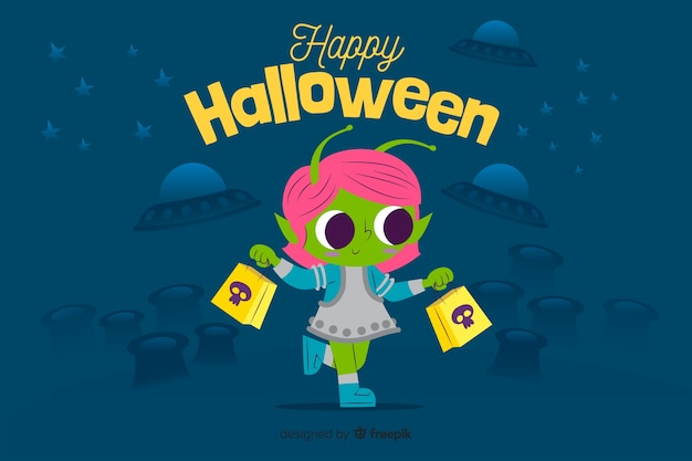 Flat halloween background with cute alien Free Vector