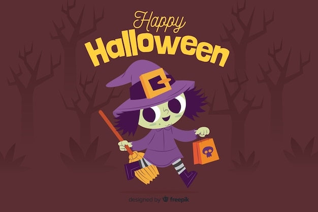 Flat halloween background with cute witch Free Vector