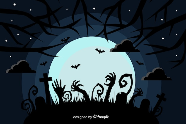 Flat halloween background with full moon Free Vector