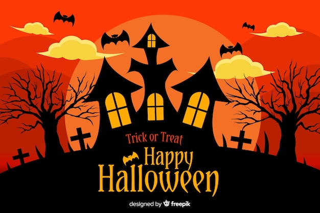 Flat halloween background with haunted house Free Vector