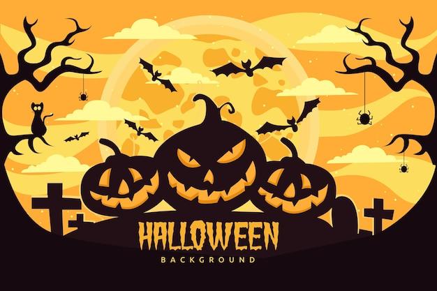 Плоский фон хэллоуина с страшными тыквами Бесплатные векторы