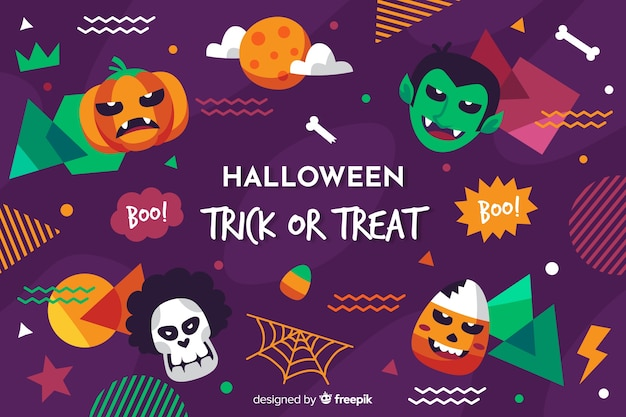 Flat halloween background with variety of spooky elements Free Vector