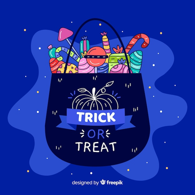 Flat halloween bag filled with sweets Free Vector